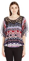 NY Collection Women's Elbow Flutter Sleeve Printed Pullover with Front Neck Trim Hi Low Hem