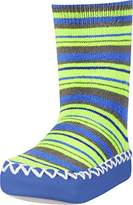 Playshoes Boys Slipper Socks, Moccasins, House Shoes, Blue-Green Striped Ankle Socks