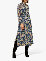 Jigsaw Candy Floral Wrap Day Dress, Steel
