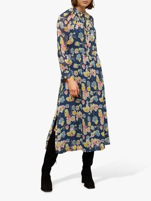 Jigsaw Candy Floral Wrap Day Dress, Steel