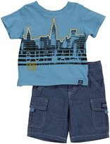 Buffalo 2 Piece Chambray Short Set (Baby) - Blue Grotto-24 Months