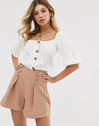 Bardot Rokoko knitted crop top with balloon sleeves-Cream