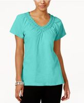 JM Collection Cotton Crochet-Trim Top, Created for Macy's