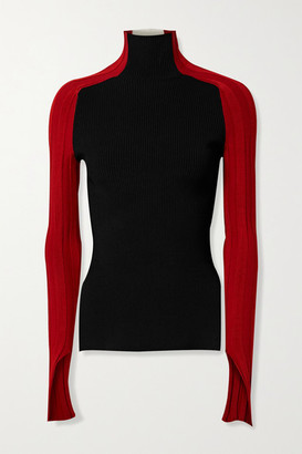 Peter Do Color-block Ribbed-knit Turtleneck Top