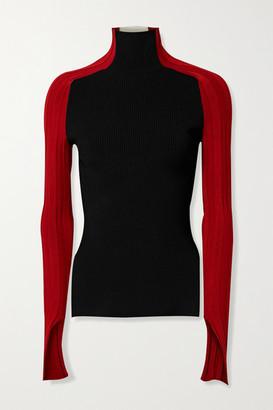 Peter Do Color-block Ribbed-knit Turtleneck Top - Black