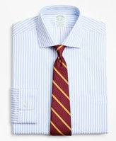 Brooks Brothers Stretch Milano Slim-Fit Dress Shirt, Non-Iron Twill English Collar Bold Stripe