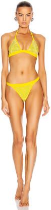 Alessandra Rich Crystal Embellished Bikini Set in Yellow | FWRD