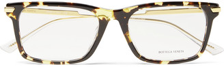 Bottega Veneta Square-Frame Tortoiseshell Acetate And Gold-Tone Metal Optical Glasses
