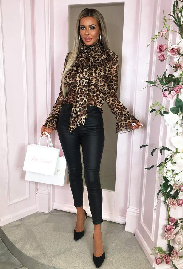 Pink Boutique On Show Multi Leopard Print Sheer Pussy Bow Ruffle Blouse