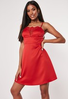 Missguided Red Satin Lace Insert Cami Skater Dress