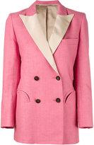 Blazé Milano - contrast lapel blazer - women - Silk/Linen/Flax/Cupro/Viscose - I