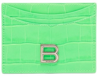 Balenciaga Hourglass Croc-effect Patent-leather Cardholder - Green
