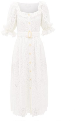 Borgo de Nor Corina Belted Lace Midi Shirt Dress - Ivory