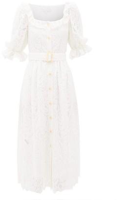 Borgo de Nor Corina Belted Lace Midi Shirt Dress - Womens - Ivory