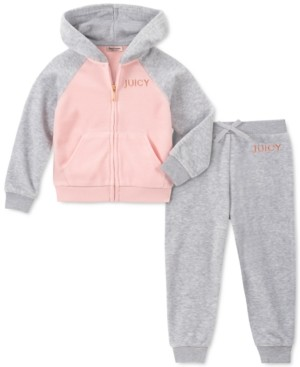 Juicy Couture Little Girls 2-Pc. Velour Hoodie & Jogger Pants Set