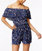 Ultra Flirt Juniors' Pleated Off-The-Shoulder Romper