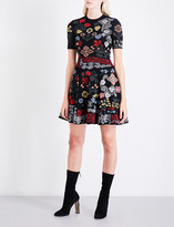 Alexander McQueen Floral-intarsia silk-blend mini dress