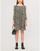 Claudie Pierlot Puffed-sleeve leopard-print crepe mini dress