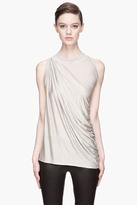 Rick Owens Pearl grey draping Anthem Tank top
