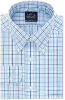 Eagle Men's Classic/Regular Fit Non-Iron Flex Collar Blue and Teal Check Dress Shirt