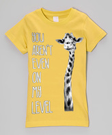 Micro Me Yellow 'My Level' Giraffe Fitted Tee - Infant Toddler & Girls