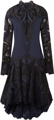 Jonathan Simkhai Paneled Embroidered Giupure Lace And Cady Dress