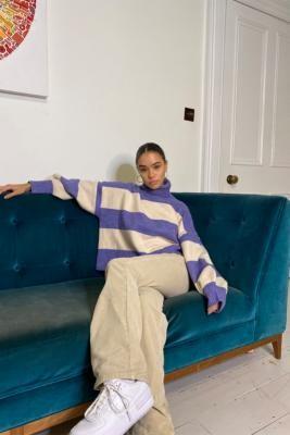 Daisy Street Stripe Purple Knit Jumper - Purple M at Urban Outfitters