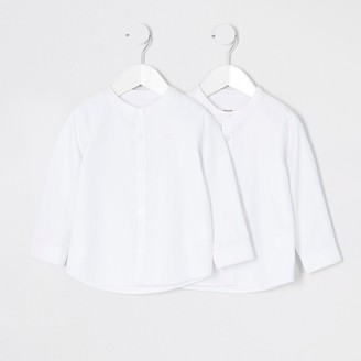 River Island Mini boys white grandad collar shirt 2 pack