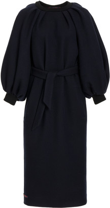 Martin Grant Belted Wool Midi Dress