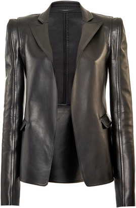 Valentino Structured Leather Open-Front Blazer