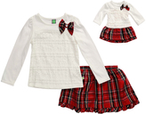 Dollie & Me Cream & Red Plaid Skirt Set & Doll Outfit - Girls
