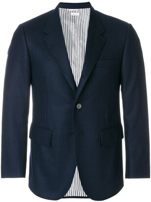 Thom Browne Wide Lapel Solid Wool Sport Coat