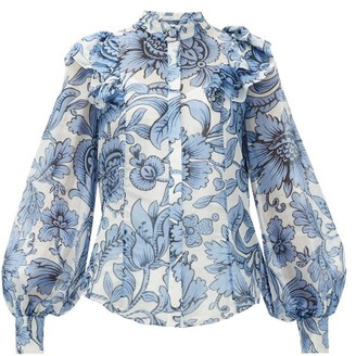 Erdem Caterina Modotti Wallpaper Ruffled Blouse - Womens - Blue White