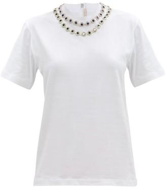 Christopher Kane Crystal-embellished Cotton-jersey T-shirt - White