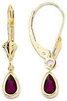 GemAffair Rhodolite Garnet Earrings - 14k Yellow Gold - Lever Back - 6 X 4mm - 0.8gr