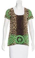 Versace Silk Leopard Print Top