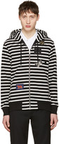 Alexander McQueen Black and White Striped Badges Hoodie