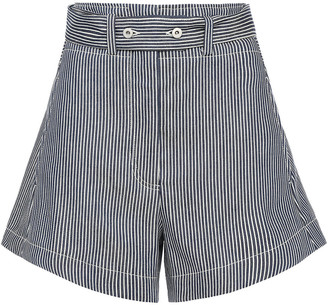 Cédric Charlier Striped Denim Shorts