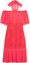 Temperley London Berry Off-the-shoulder Chiffon And Guipure Lace Dress - Coral