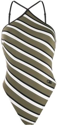 Solid & Striped Halter Neck Diagonal Stripe One-Piece