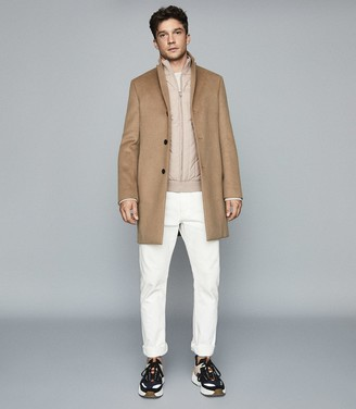 Reiss QUENTIN QUILTED ZIP THROUGH Oatmeal