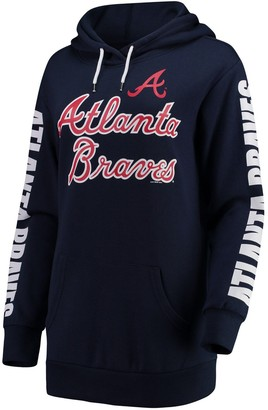 G Iii Women's G-III 4Her by Carl Banks Navy Atlanta Braves Extra Innings Pullover Hoodie
