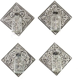 HomeRoots Set of 4 Hanging Glass Vase on Tile Wall Decor