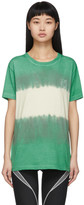 Off-White Off White Green and White Tie-Dye Skinny Arrows T-Shirt