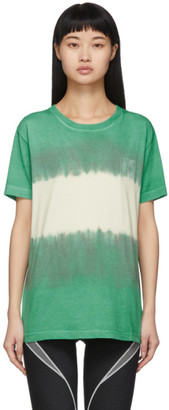 Off-White Green and White Tie-Dye Skinny Arrows T-Shirt