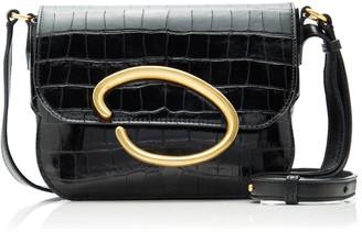 Oscar de la Renta Oath Croc-Effect Leather Shoulder Bag