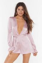 Nasty Gal Womens Satin Stripe Playsuit - Pink - 14, Pink