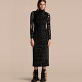 Burberry Stretch Velvet Devoré Bodycon Dress