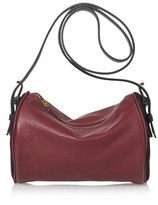 Joanna Maxham Roll Bag Cross Body In Merlot With Black Suede.