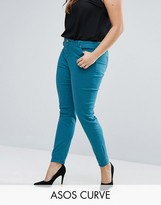 Asos LISBON Skinny Mid Rise Jean in Teal